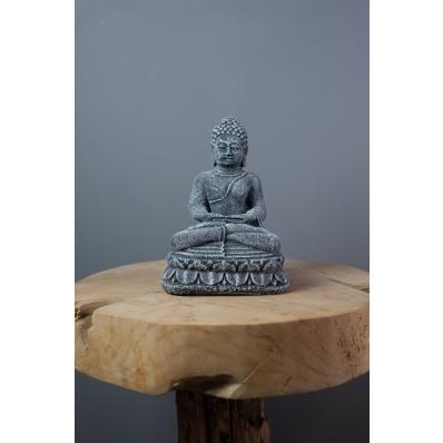 Statuette Bouddha Dhyana mudra 20 cm en ciment gris