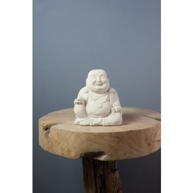 Statuette Bouddha rieur 15 cm en ciment blanc