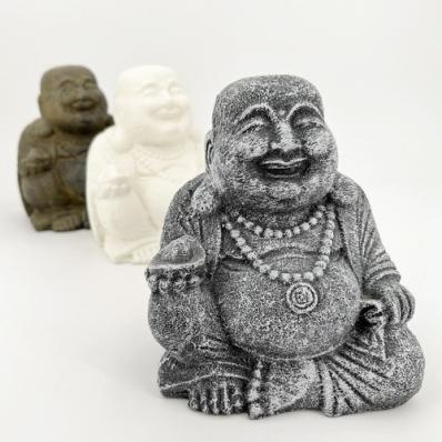 Statuette Bouddha rieur 15 cm en ciment brun