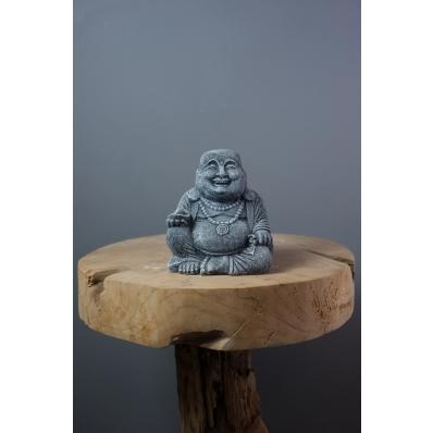 Statuette Bouddha rieur 15 cm en ciment gris