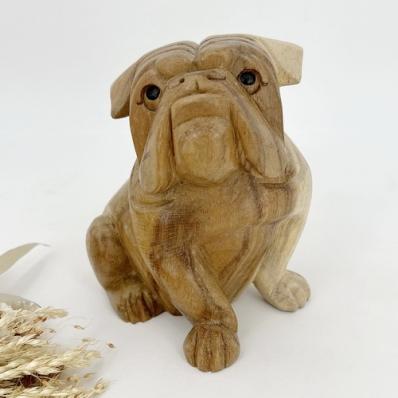 Statuette bulldog en bois de suar 15 cm