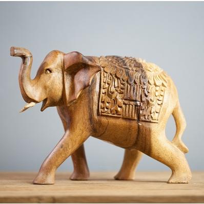 Statuette éléphant 15 cm en bois de suar