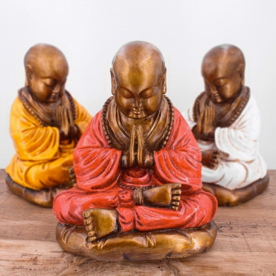 Statuette moine Shaolin méditation 23 cm