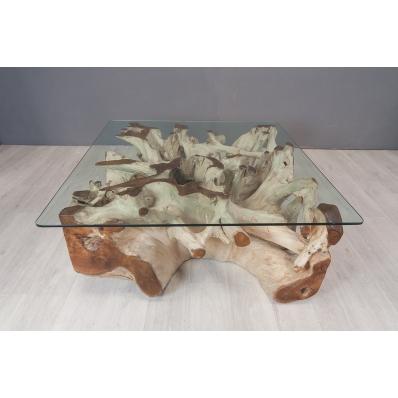 Table basse carrée en racine de teck 80 X 80 cm