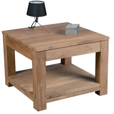 Table basse carrée en teck massif brossé naturel 60 cm