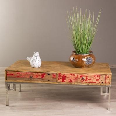Table basse en bois de mindi pieds metal 2 tiroirs va et vient