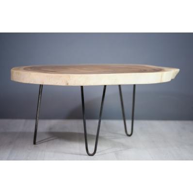 Table basse en bois de suar piétement métal