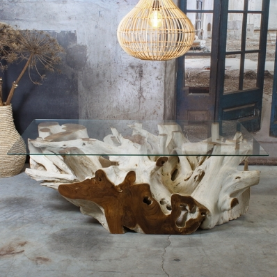 Table basse en racine de teck blanchie Ø 90 cm