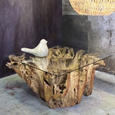 Table basse en racine de teck naturel Ø 100 cm