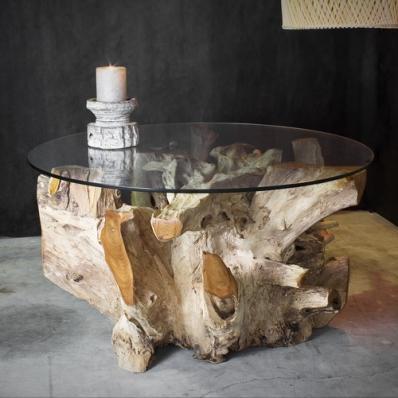 Table basse en racine de teck naturel Ø 90 cm