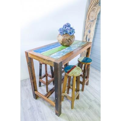 Table haute mange-debout en bois de pirogue L. 140 cm