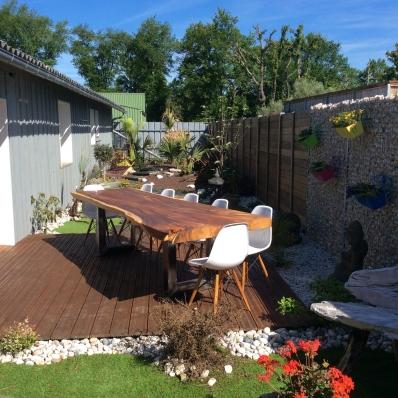 Vente table repas carr e en ch ne huil et m tal 125 x 125 cm - Table repas bois massif ...