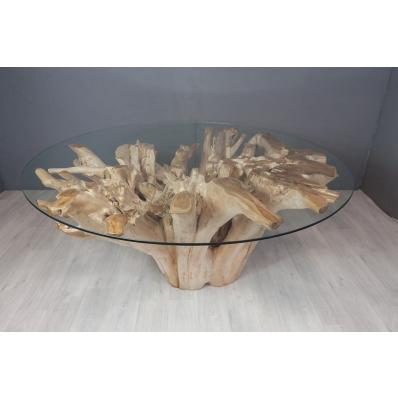 Table repas en racine de teck diamètre 150 cm