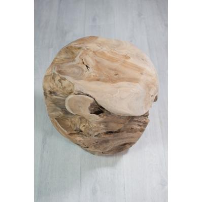 Tabouret boule en racine de teck Ø 40 cm