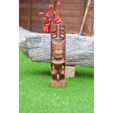 Tiki polynésien Teahupoo en bois de suar 50 cm