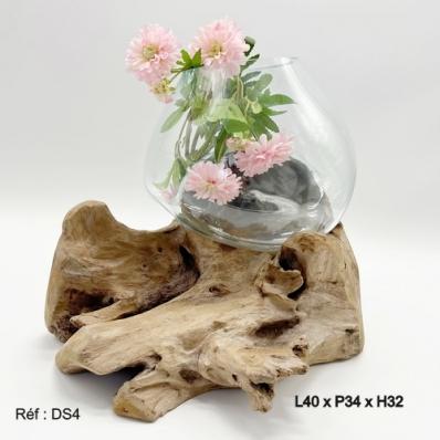 Vase en verre soufflé sur racine de teck 1