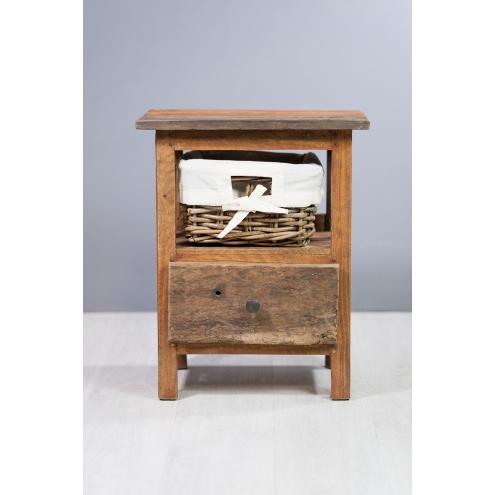 Chevet en bois exotique 1 tiroir containers du monde - Chambre en bois exotique ...
