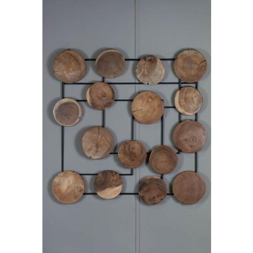 D coration murale abstraite bois de suar deco contemporaine for Decor mural bois