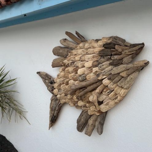 d coration murale poisson en bois flott containers du. Black Bedroom Furniture Sets. Home Design Ideas