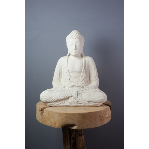 statue bouddha dhyana mudra 42 cm blanc. Black Bedroom Furniture Sets. Home Design Ideas
