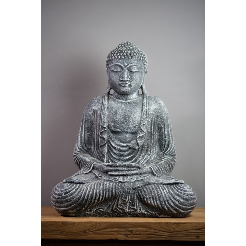 statue bouddha dhyana mudra 55 cm gris. Black Bedroom Furniture Sets. Home Design Ideas