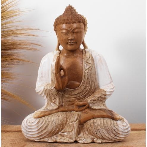 statue en bois de suar statue bouddha mudra vitarka 40 cm blanchi. Black Bedroom Furniture Sets. Home Design Ideas