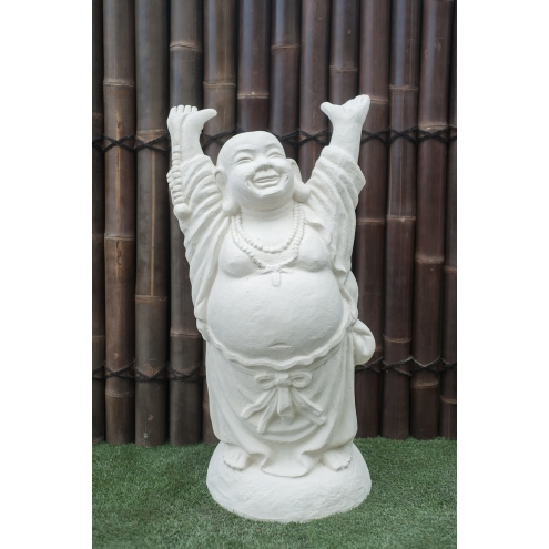 statue bouddha rieur debout 100 cm blanc. Black Bedroom Furniture Sets. Home Design Ideas