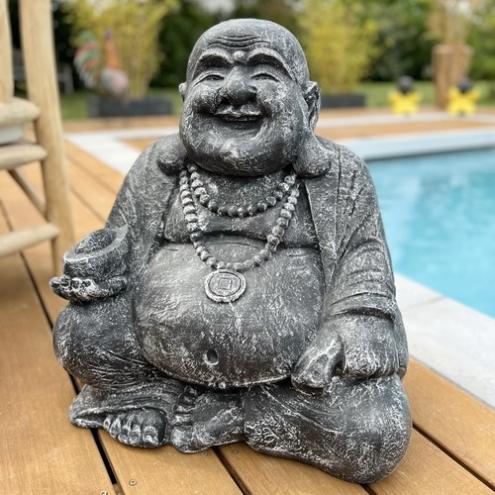 statue happy bouddha 60 cm gris. Black Bedroom Furniture Sets. Home Design Ideas