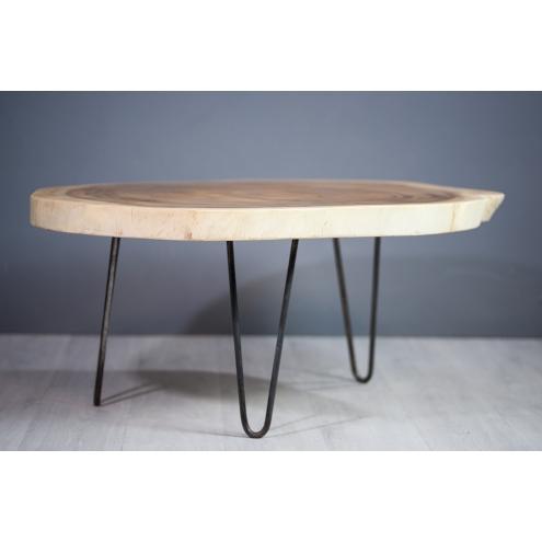 meuble salon table basse en bois de suar pi tement m tal. Black Bedroom Furniture Sets. Home Design Ideas