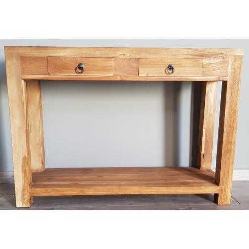 tendance meuble console 2 tiroirs en teck recycl. Black Bedroom Furniture Sets. Home Design Ideas