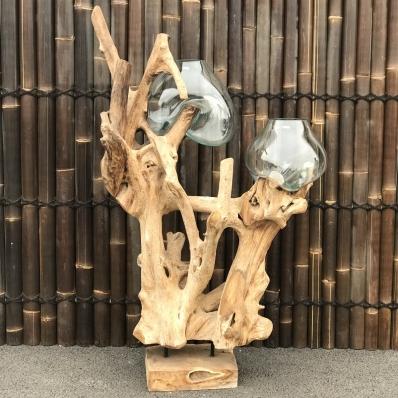 2-vases-soufflées-sur-racine-de-teck-(verre recyclé)-containers-du-monde-33380