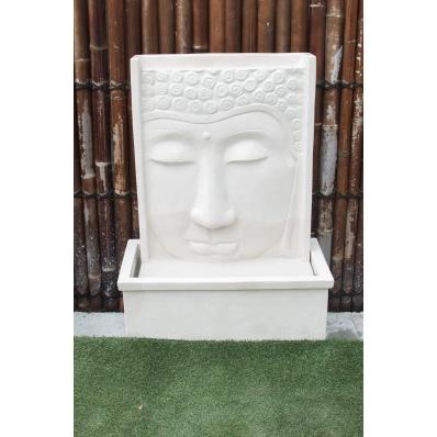 Fontaine mur d'eau visage de Bouddha 111 cm blanc