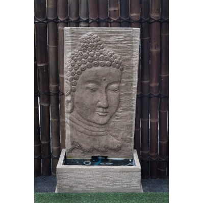 Fontaine mur d'eau visage de Bouddha 140 cm crème