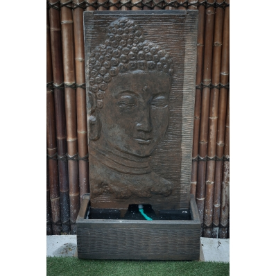 Fontaine mur d'eau visage de Bouddha 140 cm marron antique