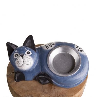 Gamelle pour chat en bois exotique bleu