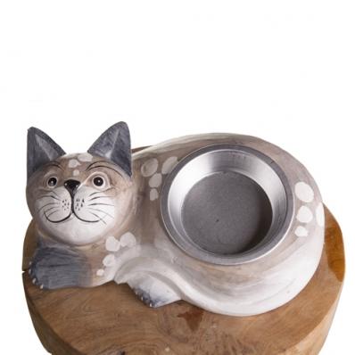Gamelle pour chat en bois exotique crème