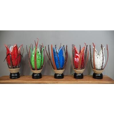Lampe mosaïque de verre et coco