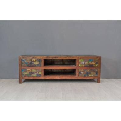 Meuble TV 150 en bois de pirogue recyclée