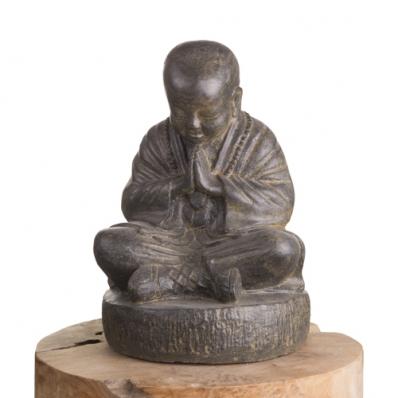 Petite statue moine Shaolin marron 37 cm