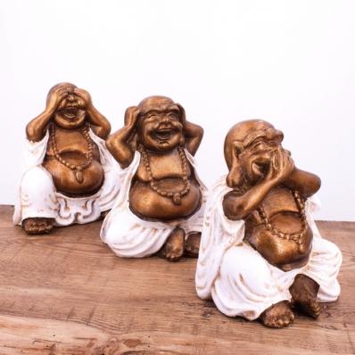 Set de 3 statuettes Happy Bouddha de la sagesse