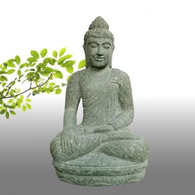 Statue Bouddha Bhûmisparsha-mudrã en pierre 76 cm