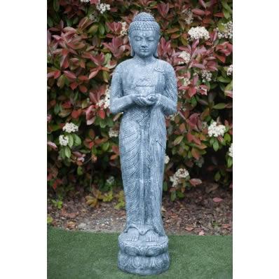 Statue Bouddha debout 150 cm gris