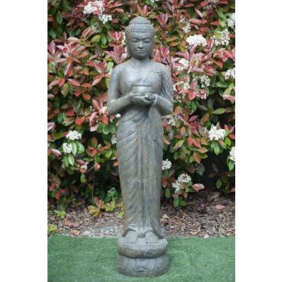 Statue Bouddha debout 150 cm marron antique