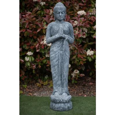 Statue Bouddha debout anjali-mudra 150 cm gris