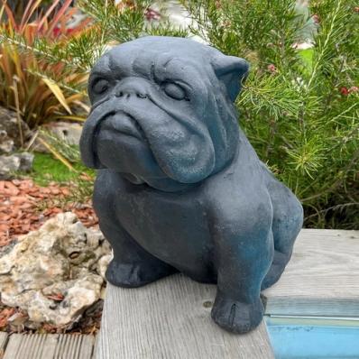 Statue chien bulldog 30 cm noir