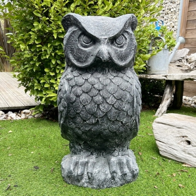 Statue chouette 80 cm gris