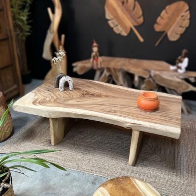Table basse 140 cm en bois de suar