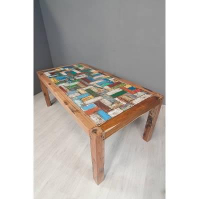 Table de repas 200 en bois de pirogue