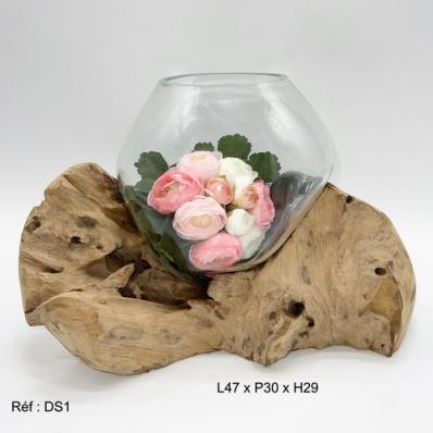 Vase en verre soufflé sur racine de teck