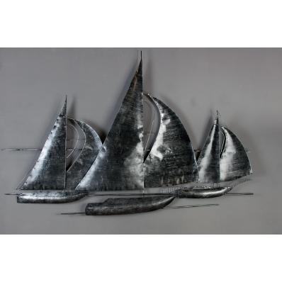 Décoration murale en métal voiliers en régate